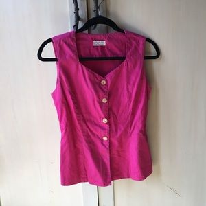 Magenta vintage button up top w/ gold buttons
